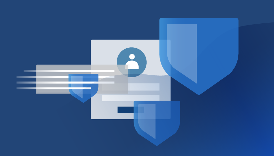 Illustrated shields representing cybersecurity on top of an abstract personal profile in a blue frame.