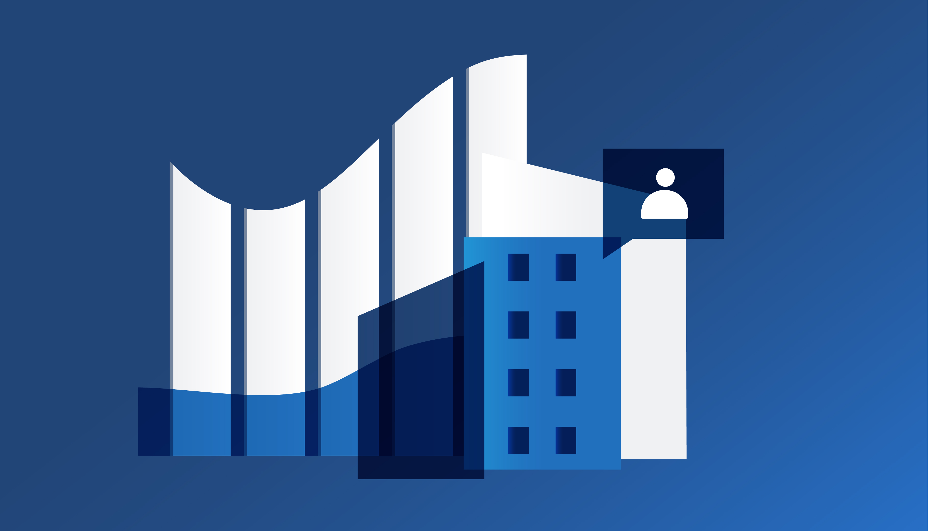Two blue buildings and an icon of a person in front of a bar chart graphic representing growth from left to right.