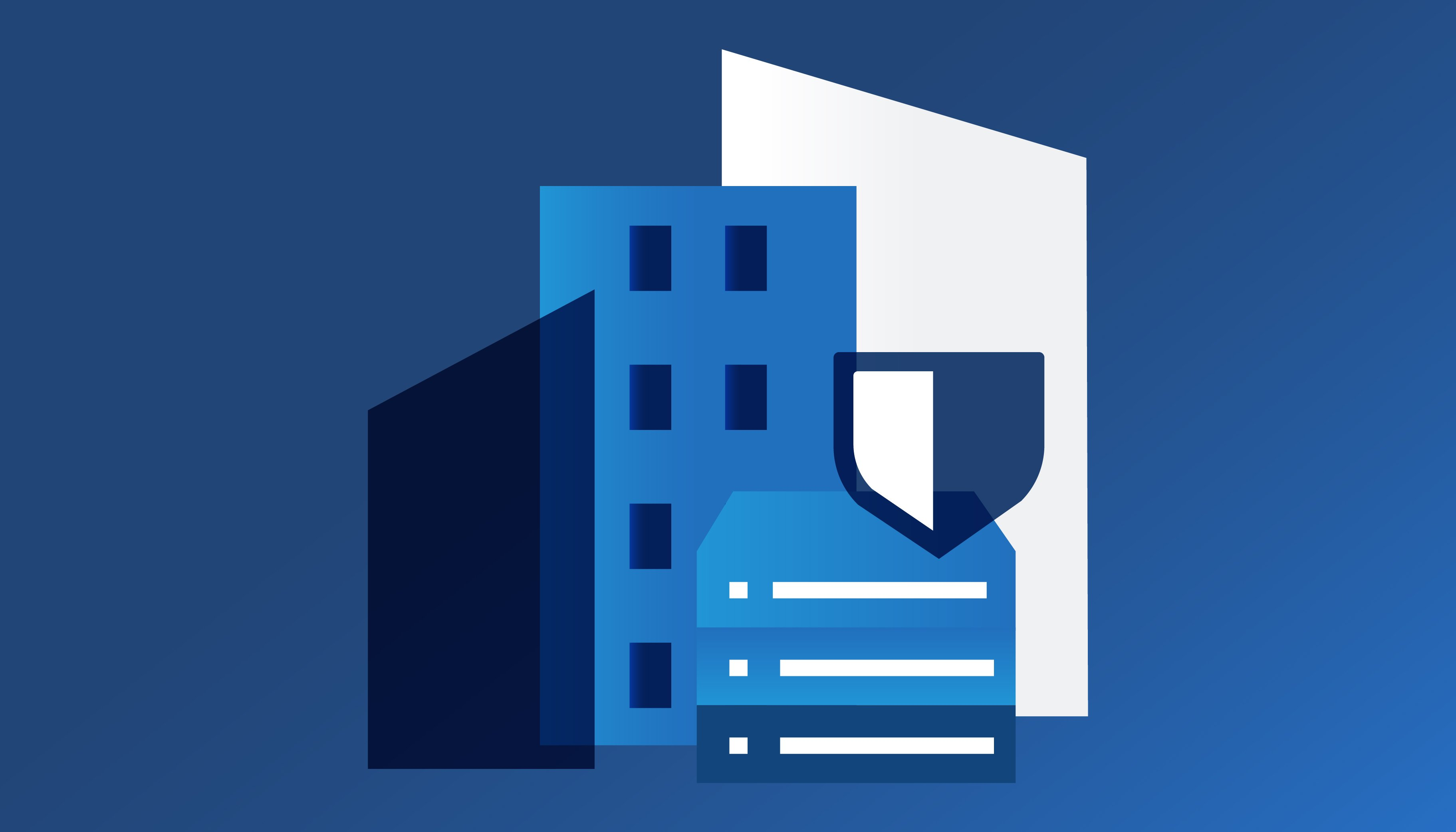 An illustrated server stack in front of blue and white buildings and a shield symbolizing data protection.