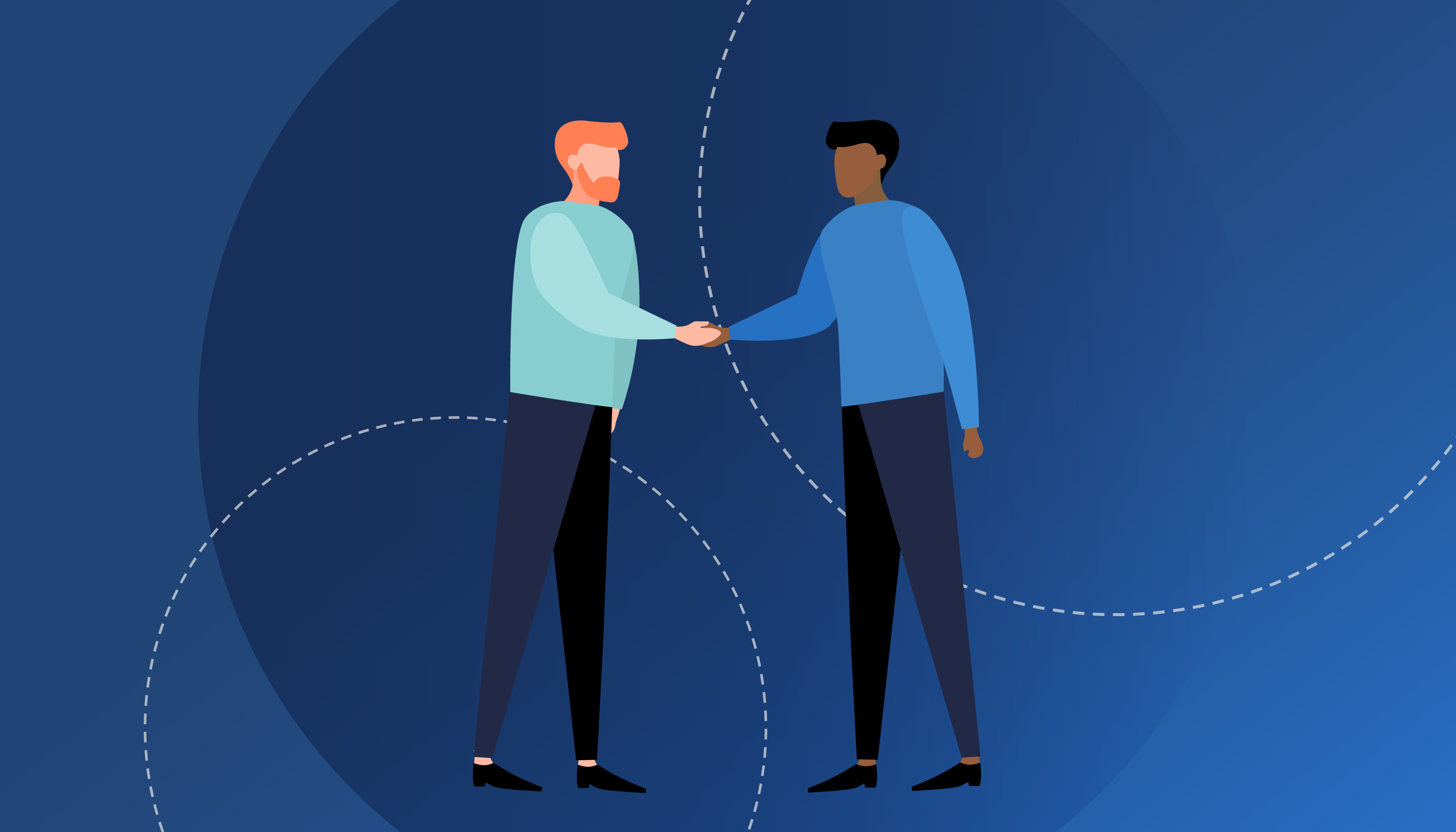 An illustration of two people shaking hands with illustrated white and blue circles in the background.