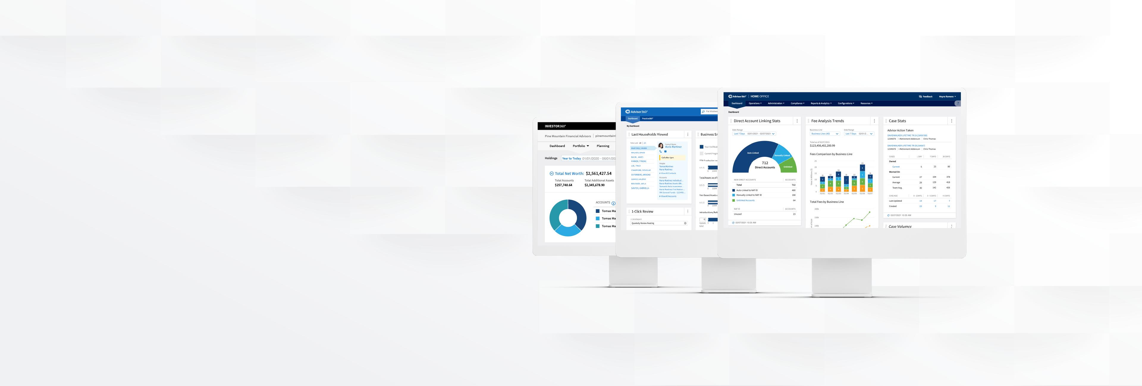 Advisor360 WealthTech Platform Screens
